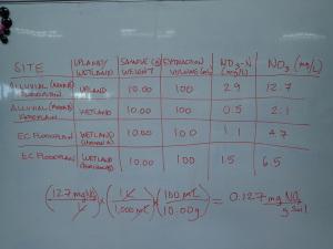 Nitrate analysis data