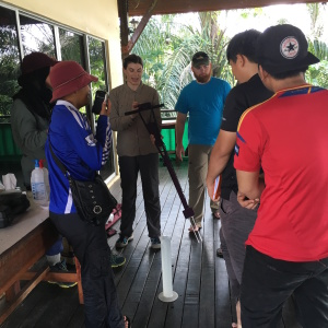 Emily demonstrates calibration technique with D.I. water while Fadwa, Amir, Phil, Fikri, and Zadie look on.