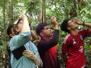 Sasha, Fijan, Amir, and Inam all demonstrating the inclinometer